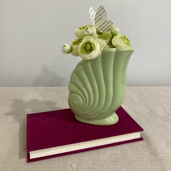 Vintage Citron-Sage Glazed Vase